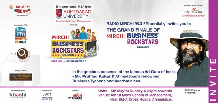 I love to call him the MAD Guru! Prahlad Kakkar the famous Ad Guru is coming to Ahmedabad this Sunday to deliver a lecture at Mirchi Business Rockstars Season 2 Grand Finale. 