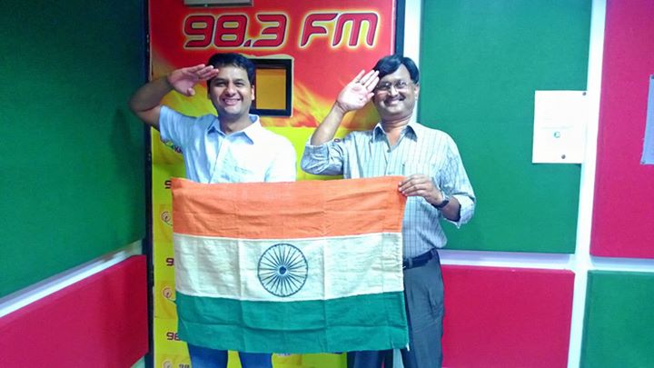 This morning an Amdavadi Listener Munjal Desai got a 55 year old Tricolor to the studio! Happy Independence Day!