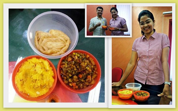 Did you have this for lunch today?   For the first time I tasted a delicious delicacy called Mango Majum and Patrali - a sabji made up of 32 vegetables!  A very sweet gesture from an MBBS student and an ardent Mirchi fan Amola! She brought homemade food to the studio and gave us a treat! (Hope I got the names of the delicacies right!!)