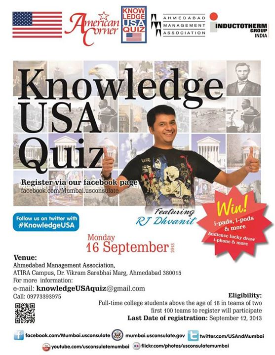 What's your plan for the evening? Come for the quiz at 5.00 p.m at AMA. Students are invited to be a part of the audience. We have a lucky draw for the audience. You could win* iPhone, iPod or Sony Digital Camera. And a lot of shopping vouchers if you answer my questions for the audience in the KnowledgeUSA quiz.  *Conditions Apply
