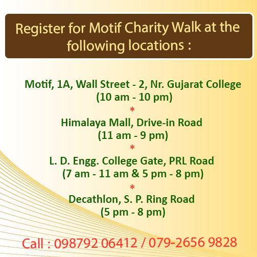 Walk with me this Sunday at the 12th Motif Charity Walk!  Visit this page for more details: https://www.facebook.com/MotifCharityWalk.Ahmedabad