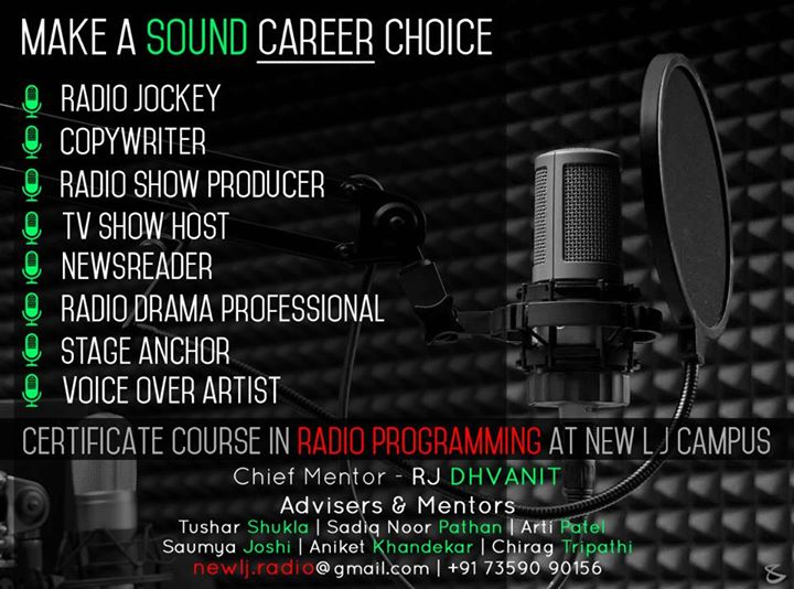 Do you want to make a career in Radio, TV or Stage anchoring? Here's a one of its kind 4months part time certificate course!  Last date of registration : 25th September.  Mail your details to newlj.radio@gmail.com