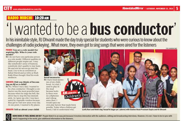 Children's Day Special Feature in today's Ahmedabad Mirror