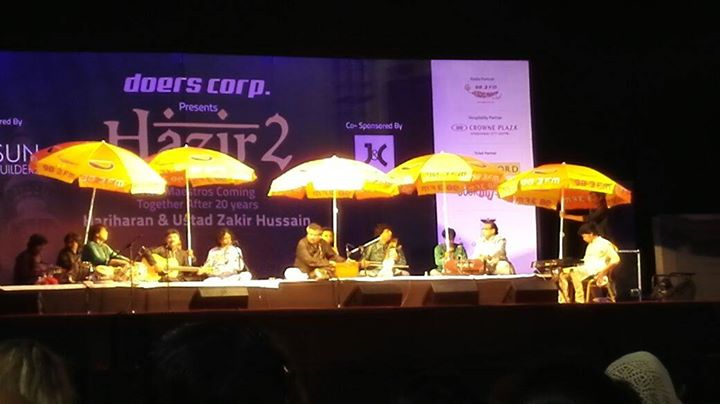 #UstadZakirHussain and #Hariharan performing under #Mirchi Umbrella at #Ahmedabad!  Do you remember? Last year it #rained on the same day! My dear colleague Mitai Shukla had to change the venue of his wedding. Happy #Anniversary Mitai :)  #rains #amdavad Hariharan A