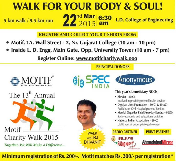 What's your plan for the next Sunday Morning?  https://www.facebook.com/MotifCharityWalk.Ahmedabad
