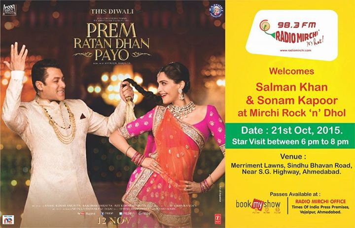 Meet Salman and Sonam today between 6 to 8 at Mirchi Garba!!  #mirchirockndhol #mirchirockanddhol #salmankhan #sonamkapoor #PRDP