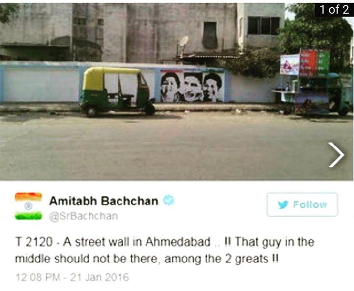 અલ્યા, આ કઈ જગ્યા છે અમદાવાદની?   જાઓ પહલે ઉસ આદમીકા નામ લેકે આઓ જિસને યહ તસ્વીર બનાઈ હૈ!   બચ્ચન સાહેબે ટ્વીટ કર્યો આ ફોટો ને સાલું આપણને ખબર જ નથી આ દીવાલ ક્યાંની છે!  #wallpainting #ahmedabad #amitabhbachchan #sachintendulkar #latamangeshkar Amitabh Bachchan