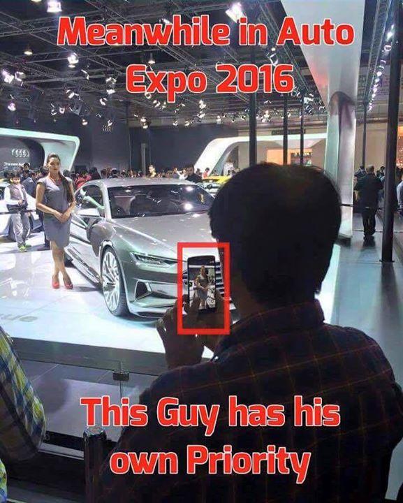 :: આ ભાઈ ગાડીના Exhibitionમાં લાડી જોવા ગયા હતા :: #AutoExpo2016 Image Source: Facebook