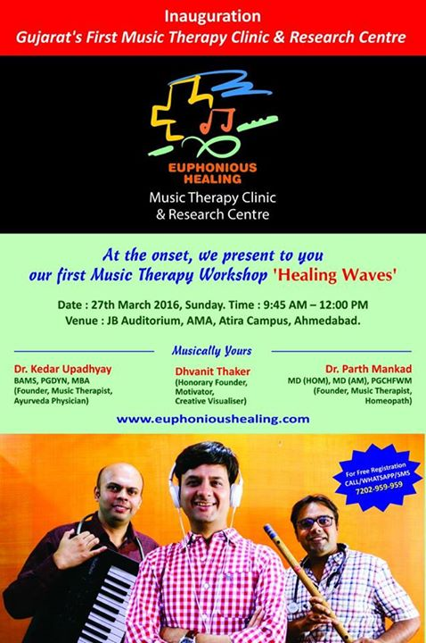 Launching our First Music Therapy Clinic!   Please join me for a Music Therapy #Workshop next Sunday.  For Free Registations Whatsapp : 7202 959 959  #musictherapy #music #amdavad