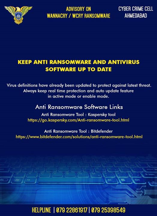 :: Advisory on #wannacry by Cyber Crime Cell, Ahmedabad :: #રડવુંછે?