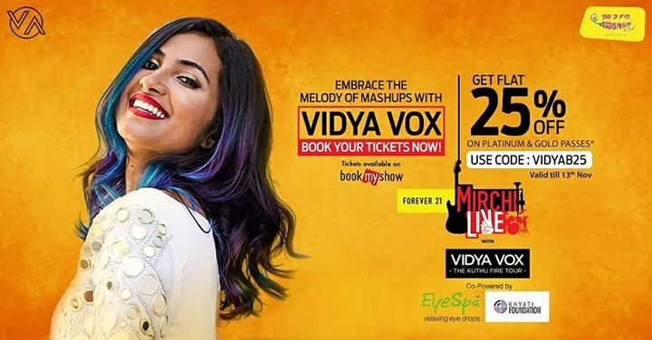 Vidya Vox live in concert in #ahmedabad on 26th November.  Book your tickets now at bookmyshow with the code: VIDYAB25 and get 25% discount.   #vidyavox #concert #amdavad