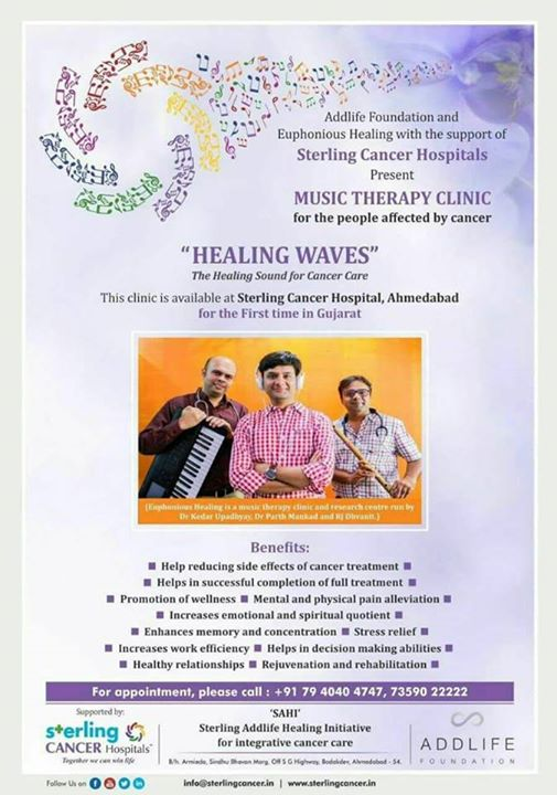Music Therapy for Cancer Patients completely Free till 31st December at Sterling Cancer Hospital   #music #musictherapy #musicheals #healing