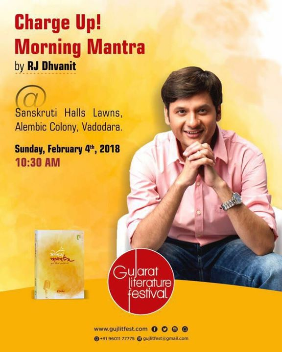 RJ Dhvanit,  vadodara, morningmantra, book, motivation, dhvanit, inspiration, glf, gujaratiliterature, gujaratiliteraturefestival, baroda