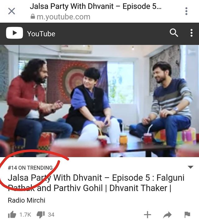 #JalsaPartyWithDhvanit episode 5 trending on No 14 right now on #youtube If you haven't watched the full episode yet, here is the link https://youtu.be/cBAvW0Nyxg0  #jalsaparty  #party #dhvanit #rjdhvanit #webseries #falgunipathak #parthivgohil #90s #popsong #nostalgic #nostalgia #garba #dandiya #navratri