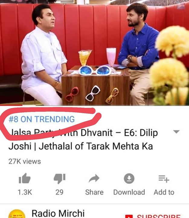 #JalsaPartyWithDhvanit season finale episode featuring #dilipjoshi aka #jethalal trending on No 8 on #youtube  Find full episode link https://www.youtube.com/watch?v=EqmIKVZHSJU  #jalsaparty #jalsa #party #dhvanit #rjdhvanit #webseries #gujarati #daya #dayabhabhi #tarakmehta #ooltahchasma #babitaji #daya #tarakmehtakaooltahchasma #trending