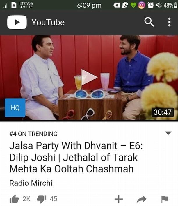 #JalsaPartyWithDhvanit season finale episode featuring Dilip Joshi aka #jethalal trending on No 4 now on #youtube   Full episode link: https://www.youtube.com/watch?v=EqmIKVZHSJU  #jalsaparty #jalsa #party #dhvanit #rjdhvanit #webseries #gujarati #dilipjoshi #tarakmehta #ooltahchasma #tarakmehtaooltahchasma