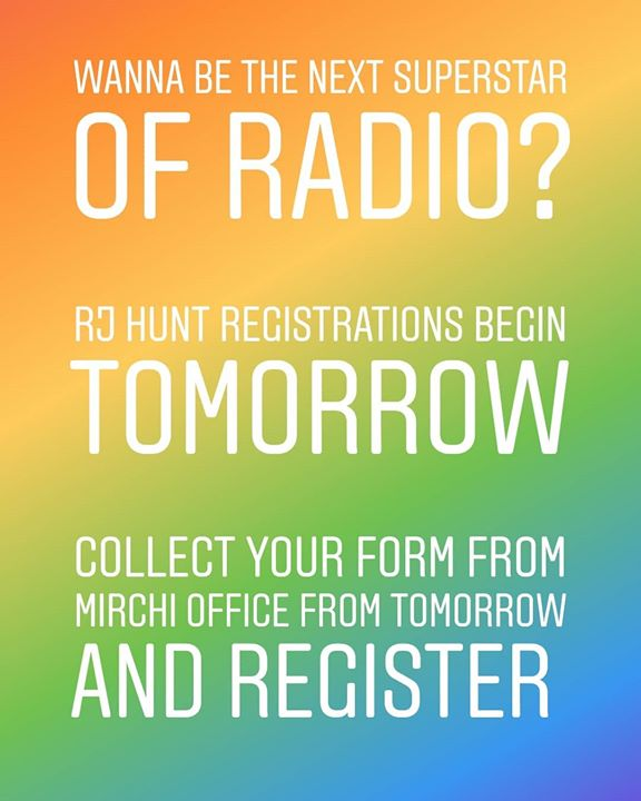 Wanna be the next #superstar of #radio? Rj hunt registrations begin from tomorrow. Collect your forms from mirchi office tomorrow and register!  #rjhunt #rj #radiojockey #ahmedabad #mirchirjhunt