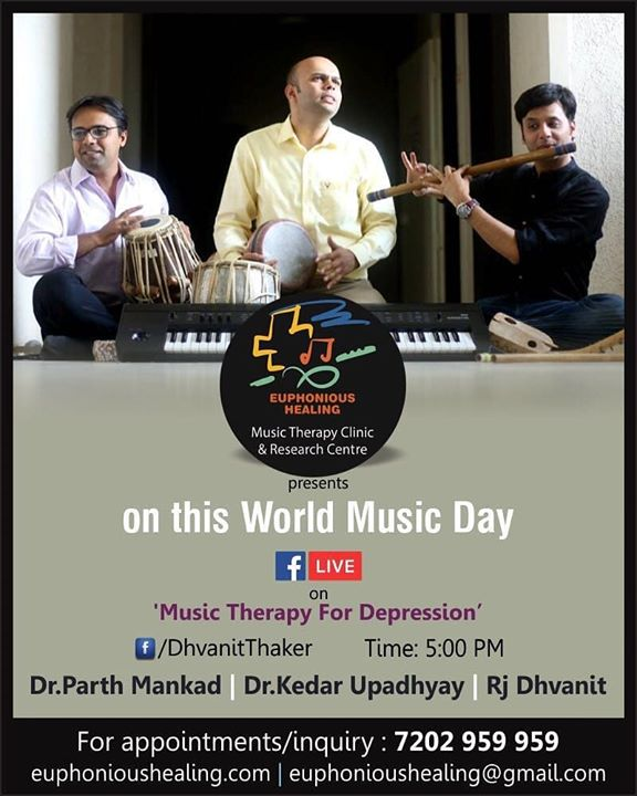 """Music Therapy for depression"" FB and Insta live today at 5 pm on World Music Day!  #music #musical #musictherapy #therapy #musicheals #healing #fblive #facebooklive #instalive Kedar Upadhyay Dr Parth Mankad"