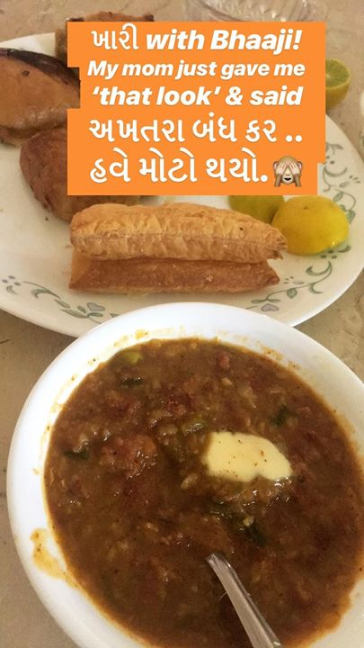 ખારી with Bhaaji! Mom gave me 'that' look કે હવે મોટો થયો.. અખતરા બંધ કર! 🙈 What weird food combinations have you tried? I have tried dosa with jam! Maggi with dahi, khichadi with ketchup..  #food #foodie #foodgasm #foodporn #foodcomma #foodstagram #foodofinstagram #foodiegram #experiment