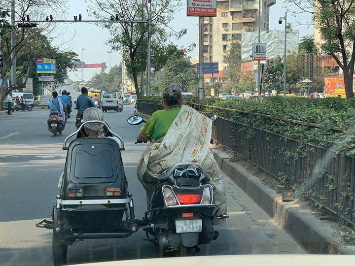 """હું જે રોજ """"Stay Beautiful #Amdavad"""" કહું છું ને, તે આ!  દિલ ખુશ થઇ ગયું યાર, કોઈ ઓળખાણ કરાવો મારી આમની જોડે...  For the millennials to know, driving a side car drains out a lot of energy in balancing the vehicle."""