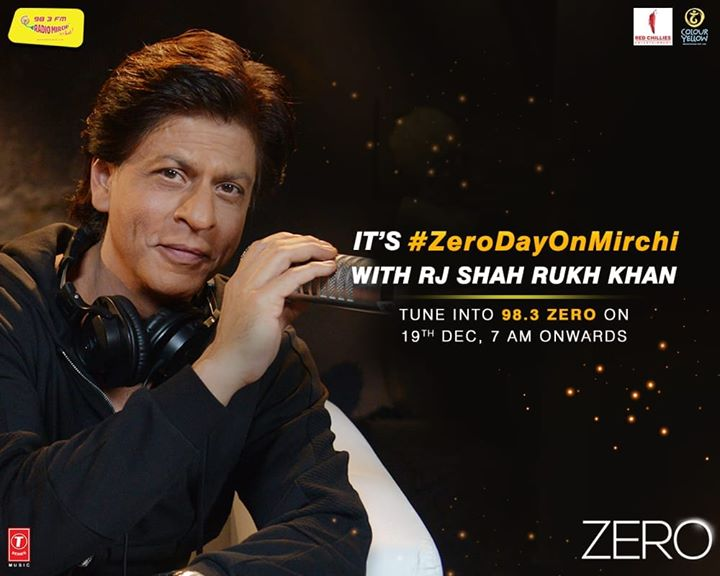 @iamsrk takes over my job on 19th December! Shahrukh khan along with Katrina Kaif & AnushkaSharma would be doing the morning show on 19th from 7-12. Don't forget to tune in..  #zero #shahrukhkhan #srk #katrinakaif #anushkasharma #tseries #redchillies