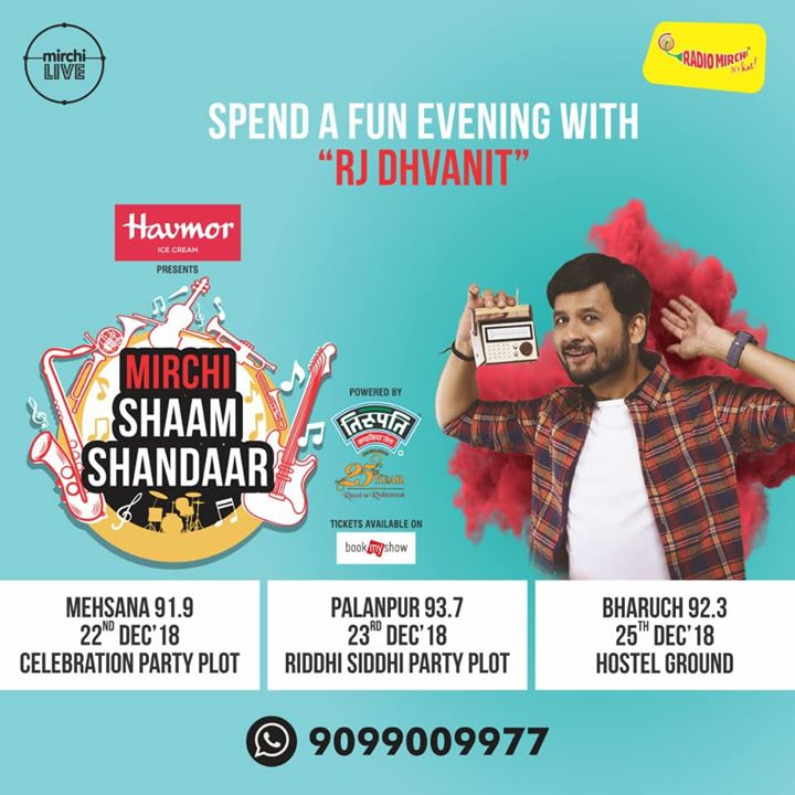 Mirchi brings to you a musical evening 'Shaam Shaandar' in Mehsana, palanpur and bharuch! Book your tickets now from bookmyshow: https://in.bookmyshow.com/events/mirchi-shaam-shandaar/ET00089967  #concert #mehsana #palanpur #bharuch