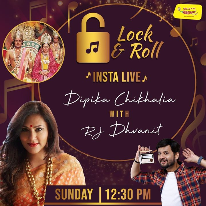 All about Ramayana !  Dipika Chikhlia Topiwala with RJ Dhvanit on Insta-Live   Sunday afternoon at 12.30 PM!  Yes.. she played the role of Sitaji in the epic!   #dipikachikhliatopiwala #mirchilockandroll #instalive #RjDhvanit #RadioMirchi #MirchiGujarati