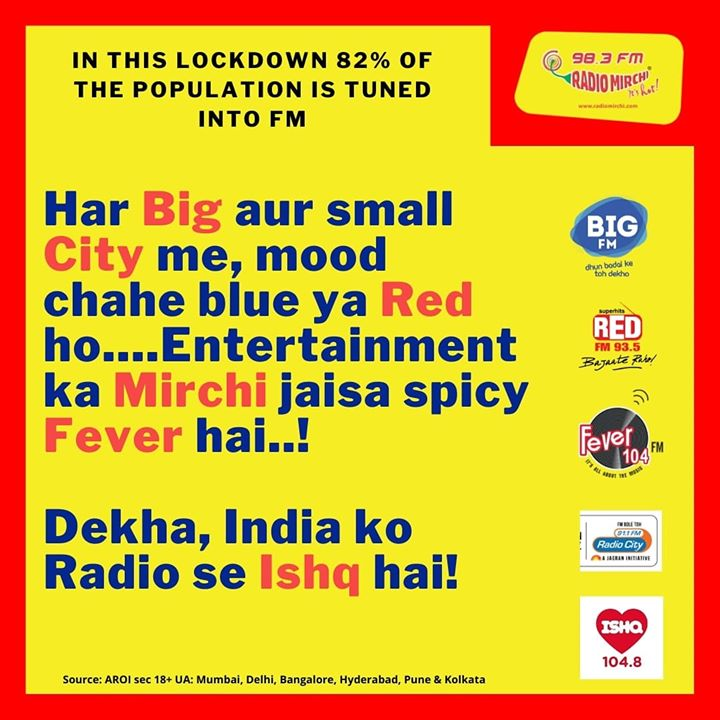 Jab saare radio stations ho always on, toh sunne waale honge always khush! A staggering 82% of the population is tuned into FM Radios during this lockdown!  #radiomirchi #mirchilove #bigfm #radiocity #redfm #mirchigujarati #feverfm #ishqfm #LockDown #Quarantine #stayhome #staysafe
