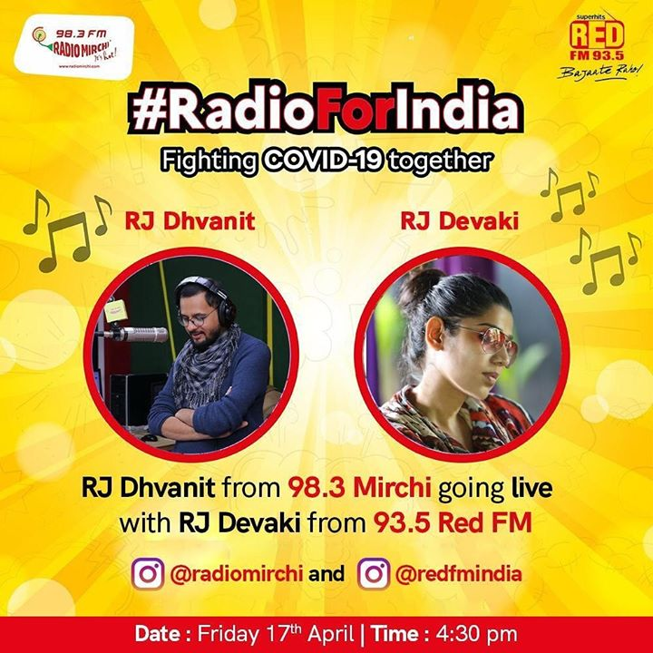 #Dhvanit #Devaki  In the fight against corona   We stand together.  Radio Mirchi Red FM  #RadioForIndia