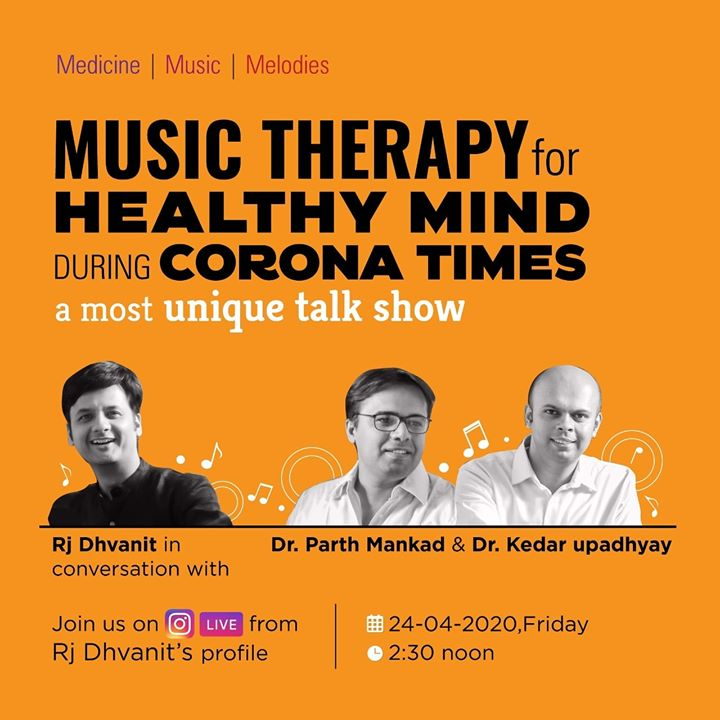 Music Therapy for Healthy Mind during Corona times - A most unique talk show.  RJ Dhvanit in conversation with Dr. Parth Mankad and Dr. Kedar Upadhyay.  Join us on INSTA LIVE from RJ Dhvanit's profile, TODAY at 2.30 PM.  #coronavirus #Covid_19 #Lockdown #quarantine #StayHome #staysafe #RjDhvanit