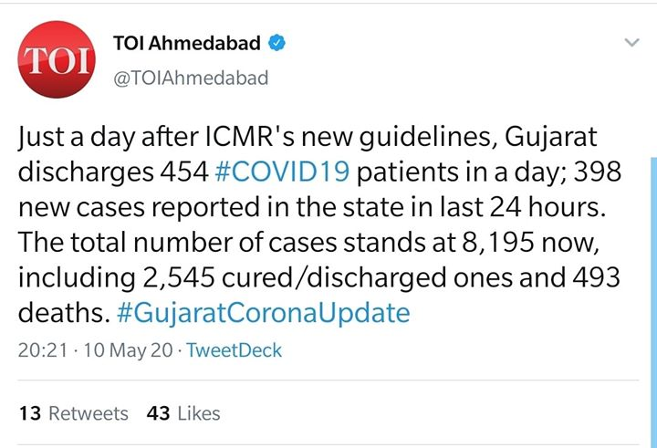 Just a day after ICMR's new guidelines, Gujarat discharges 454 #COVID19 patients in a day; 398 new cases reported in the state in last 24 hours.   The total number of cases stands at 8,195 now, including 2,545 cured/discharged ones and 493 deaths.  #gujaratcoronaupdate #gujaratfightscovid19 #indiafightscorona