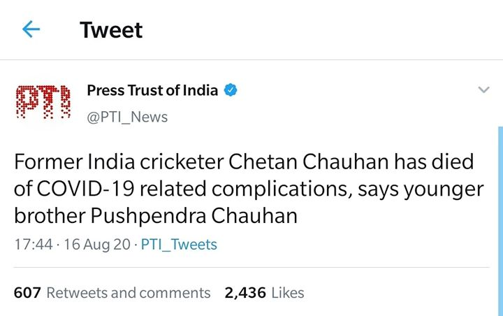 Former India cricketer Chetan Chauhan has died of COVID-19 related complications, says younger brother Pushpendra Chauhan.  Om Shanti.