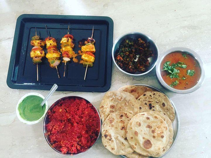 Chef Dhvanit presents :   Aloo Matar Sabji, Mooli Bhaaji,   Paneer Tikka, Paratha, Pudina Chutney,   Gajar Ka Halwa   #hobby #weekendvibes #cooking #indianfood #ગાજરનોહલવોનાભાવેએનીસાથેઆપણનેનાફાવે