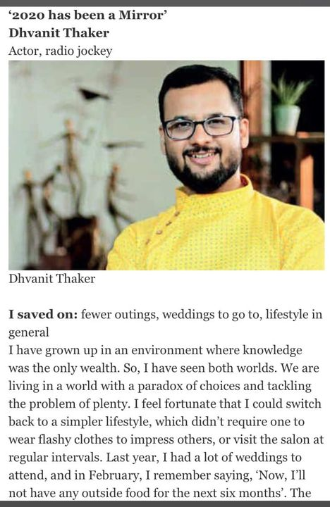 What are we except an accumulation of memories?   My take away from 2020. Yours?   Thank you @ahmedabadmirror for letting me share my views. Shruti Paniker thanks.
