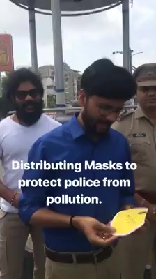 Helping the traffic police through filter masks to withstand air pollution.   Initiative by Ahmedabad Police, Airconcept and Radio Mirchi.  #ecofriendly #masks #airfilter