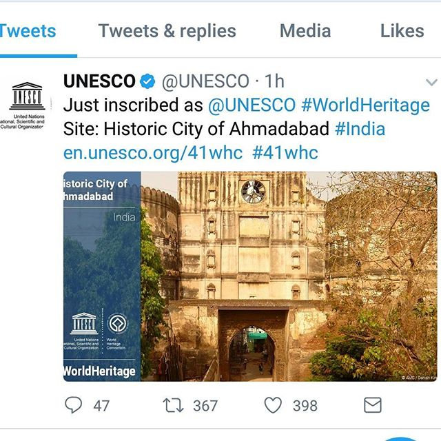 Super happy to read this!! #amdavad #iloveyou #iloveamdavad #amdavadiloveyou #proudmoment #Ahmedabad #heritagecity # heritage #city #unesco