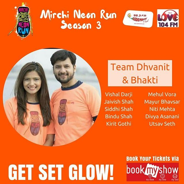 Here are the people who are gonna be in mine and @bhaktikubavat team at #mirchineonrun tomo. If you wanna join pls Register via bookmyshow (last day today). #mirchineonrunahmedabad #neon #run #mirchi #fitness #health #teamdhvanit #dhvanit