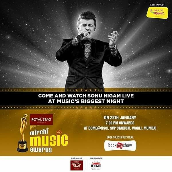 Wanna watch him perform live at Mirchi Music Awards? Book your tickets now from bookmyshow  #mma #mirchimusicawards #sonunigam #music #bollywood