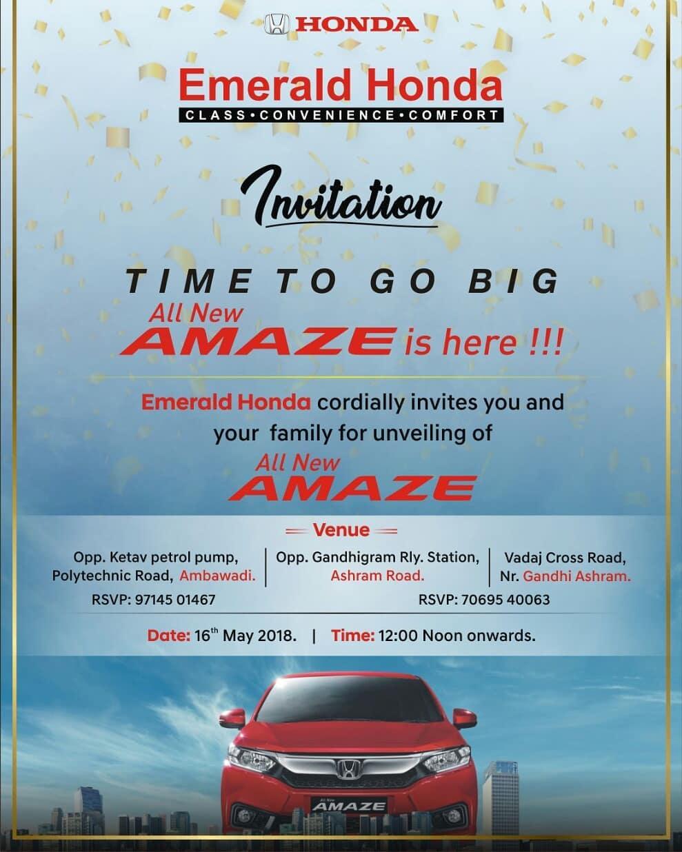 I will be unveiling the new Honda Amaze tomorrow at Emerald Honda Ambawadi showroom at 12. See you there!  #newcar #car #carlaunch #honda #amaze