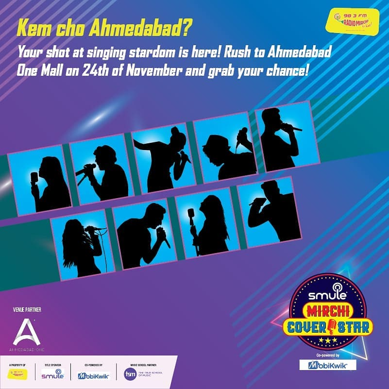 Go to Ahmedabad One Mall today and get a chance to be a Mirchi Cover Star!  #smulemirchicoverstar #ahmedabad #audition #auditions #cover #coversong @officismuleindia @mobikwik_official