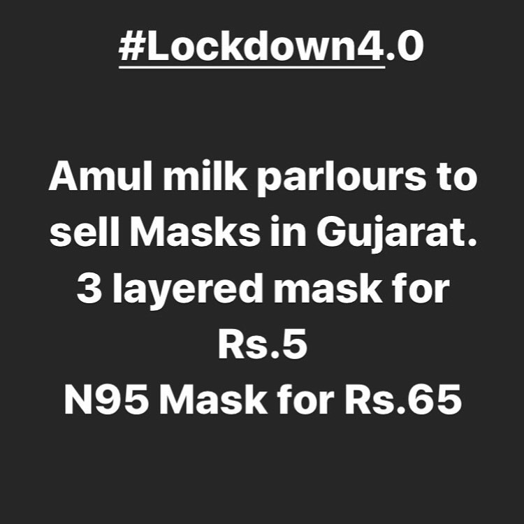 Amul Milk Parlours to sell Masks in Gujarat. @amul_india