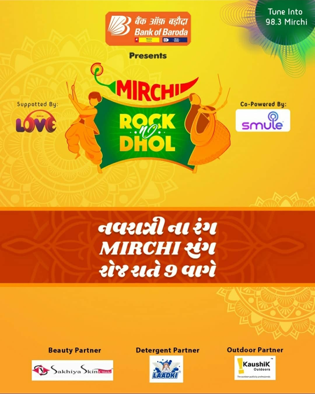 Tune in to Mirchi 98.3 everyday at 9 PM!  Mirchi Rock N Dhol Presented by @officialbankofbaroda Co powered by @smulein In association with  @laadki_detergent @sakhiyaskinclinic   #rjdhvanit #dhvanit #rockndhol  #RadioMirchi #MirchiGujarati #gujarat #garba #raas #ahmedabad #surat #baroda #rajkot #vadodara