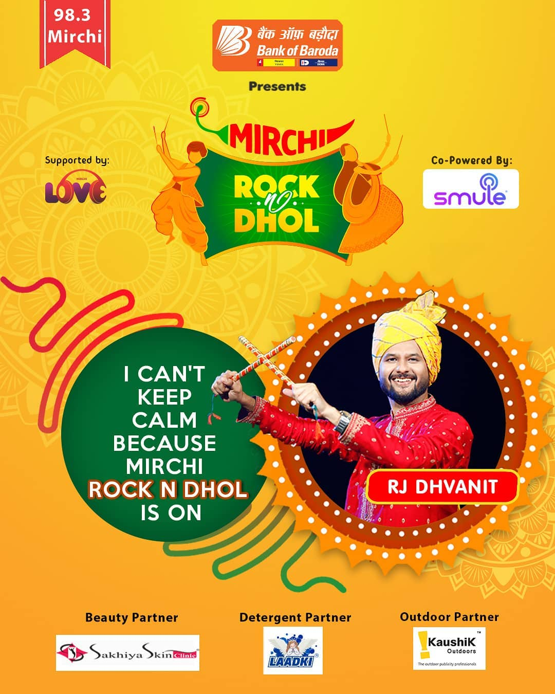 Tune in to Mirchi 98.3 everyday at 9 PM!  Mirchi Rock N Dhol Presented by @officialbankofbaroda Co powered by @smulein In association with  @laadki_detergent @sakhiyaskinclinic   #rjdhvanit #dhvanit #rockndhol  #RadioMirchi #MirchiGujarati #gujarat #garba #raas #ahmedabad #surat #baroda #rajkot #vadodara