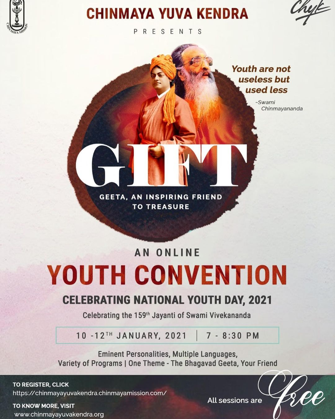 GIFT : Geeta an Inspiring Friend to Treasure!   A wonderful initiative by Chinmaya Mission for Youngsters this National Youth Day. Check out the details on the poster.   All sessions are free.   #bhagwadgeeta #srimadbhagavadgita #chinmayamission #knowledge #youthday2020