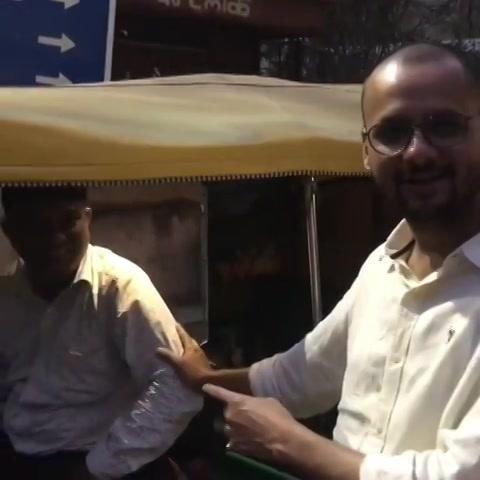 મેં રિક્ષા ચલાવી પહેલી વાર!  I have decided to do one new thing everyday that I have never done in the past! My way of motivating the first time voters!  Day 1 : Riding an Auto Rickshaw myself for the first time!  Best wishes to the First Time Voters this election!
