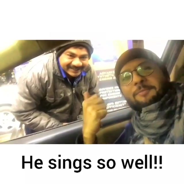 Found a talented singer at the Petrol Pump!!