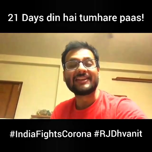 21 Din! 21 Din Hain Tumhare Paas!  Let's resolve to fight Corona like no other country. Let's show our patriotism and human values. We are one. We shall overcome!  #IndiaFightsCorona #Lockdown #RjDhvanit  #RadioMirchi #MirchiGujarati @yrf @iamsrk #ShimitAmin #JaydeepSahni