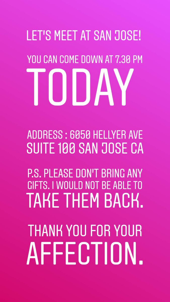 Let's meet at San Hose!  You can come down at 7.30 pm Address : 6050 Hellyer ave suite 100 San Jose P.S. Please don't bring any gifts. I would not be able to take them back.  #US #USdiaries #america #travel #traveldiaries #travelgram #sanfrancisco #sanjose https://t.co/9urjwf2VL9