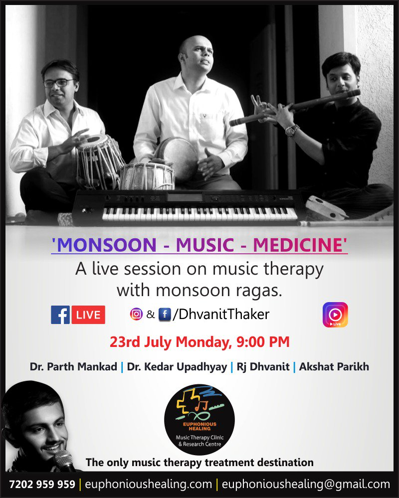 Which is your favorite baarish song? Join us for a musical #fblive & #instalive tomo at 9pm. #music #musicheals #musictherapy #baarish #monsoon #Monsoon2018 #Ahmedabad #AhmedabadRain https://t.co/1jXQKtd0li