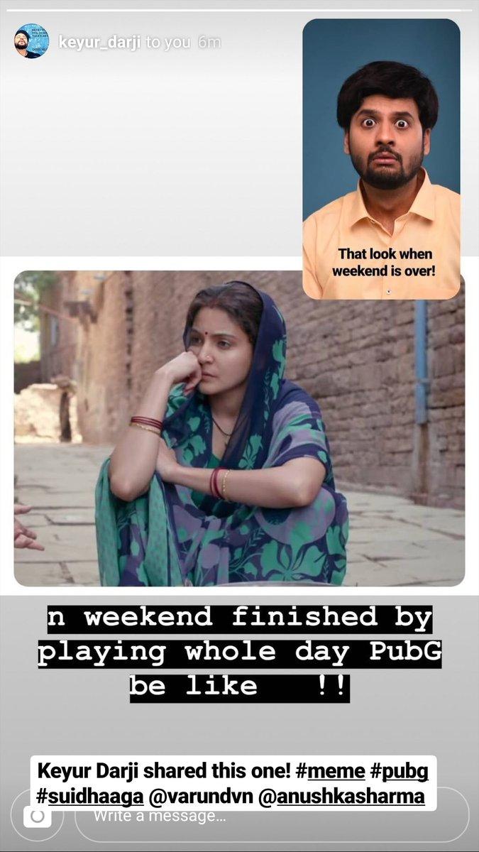 Keyur Darji shared this one with me.. When I uploaded the pic of my face when weekend is over! #suidhaaga #Memes #SuiDhaagaMadeInIndia #SuiDhaga #AnushkaSharma #VarunDhawan @AnushkaSharma @Varun_dvn https://t.co/bKPs2qMV5W